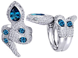 Star K™ Good Luck Snake Ring with Simulated Blue Topaz Stones