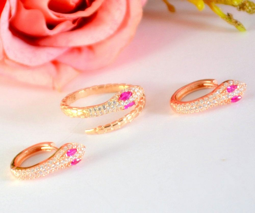 Snake Silver Jewelry, Pink Eye Ring Earring Set, Wrap Ring, Rose Gold Reptile Serpent Earring, Viper
