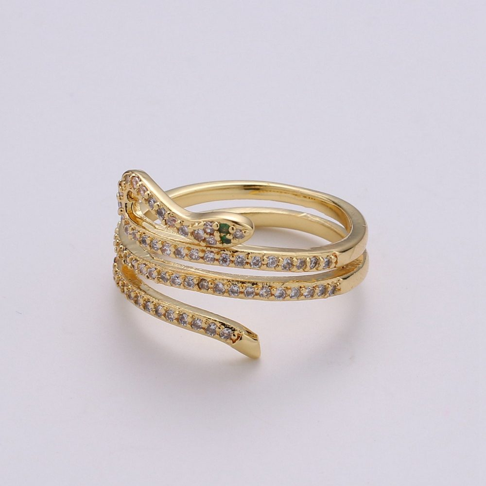 Dainty Gold Snake Ring, Adjustable Micro Pave Snake Serpent Jewelry Stackable Open Band Ring Wrap