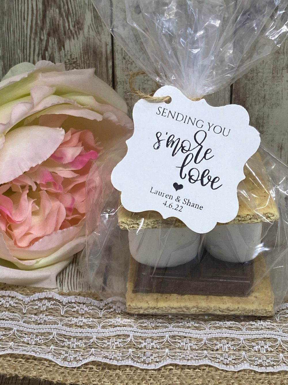 Pick Your Colors-Wedding Favor Kits, S'mores Tags, Wedding Kits With Bags & Gold Foil Tags