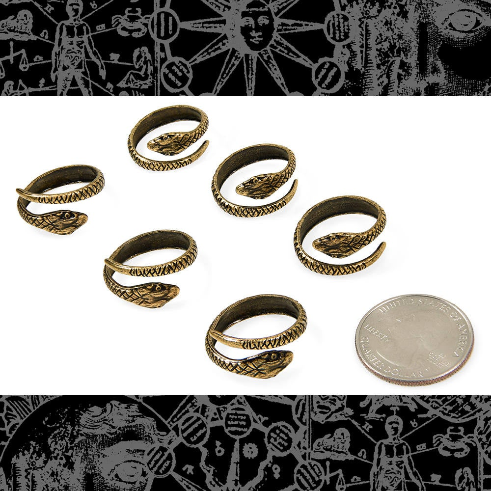 Six Antique Brass Snake Rings Ring-Ab14
