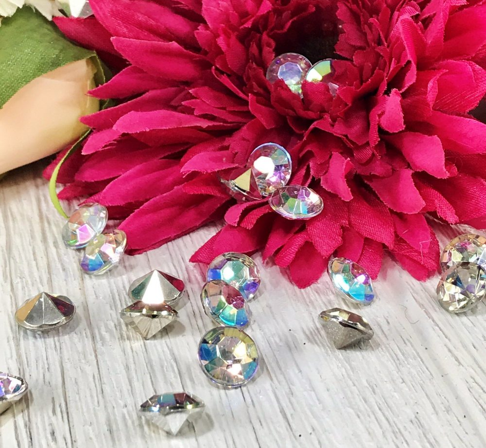 Iridescent Silver Diamond Table Confetti, Vase Filler, Wedding, Rhinestone-Crystal Weddings, Anniversary, Scatter