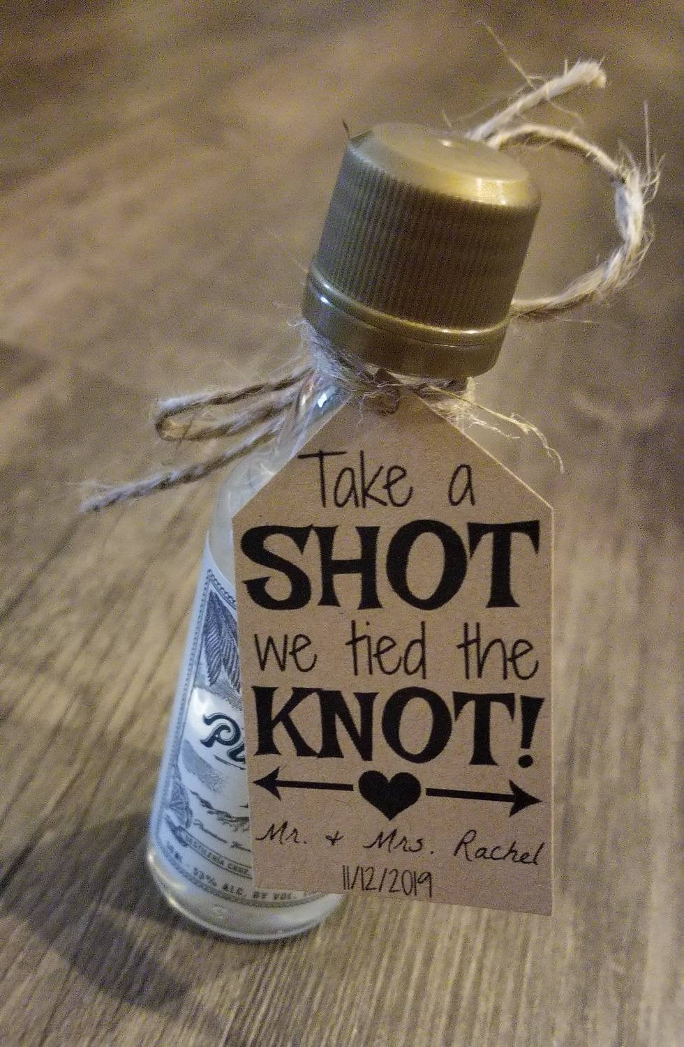 "30""Take A Shot, We Tied The Knot"" Diy Wedding Favor Kits Wedding Favors. Favor Tags. Personalized Rustic"