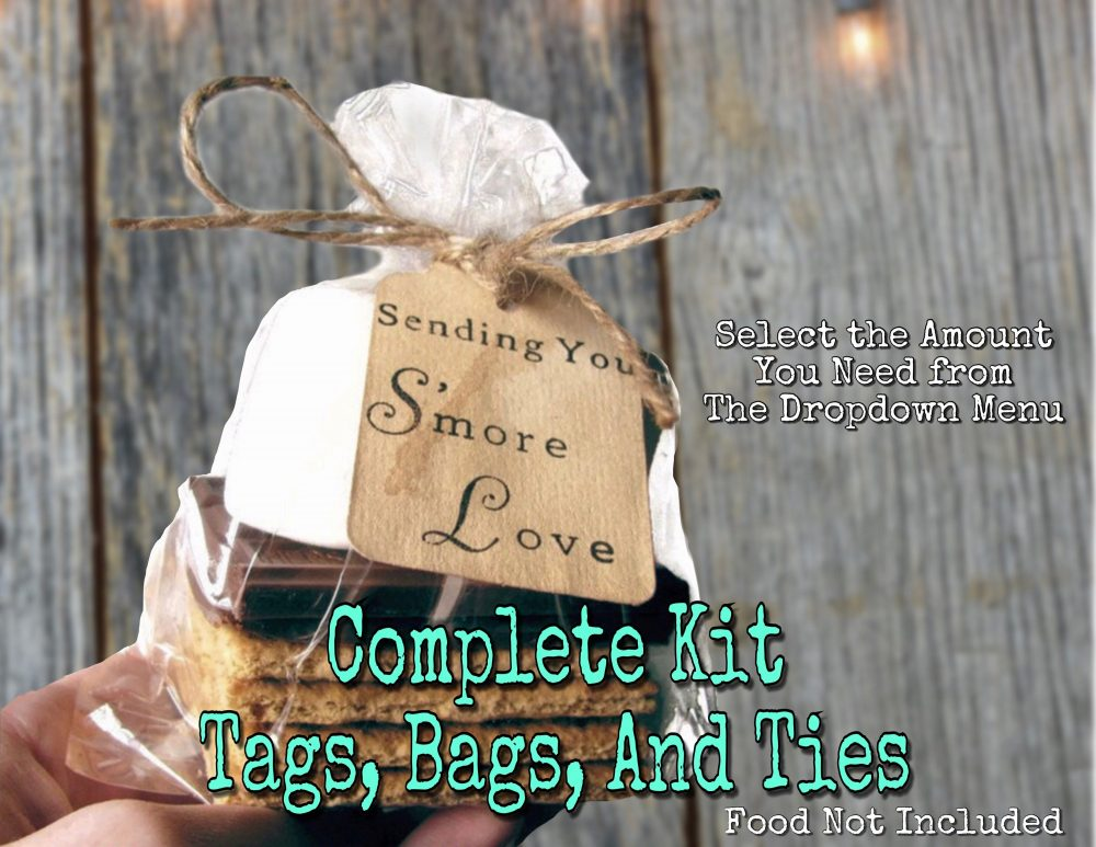 25 S'mores Wedding Favor Kit Hand Stamped Stained Sending You S'more Love Tags, Twine Ties, Clear Bags. Smores Favors Diy