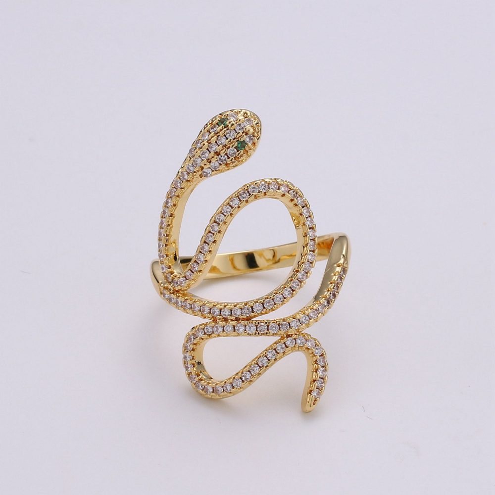 Gold Snake Ring, Serpent Cz Wrap Stackable Statement Ring For Her