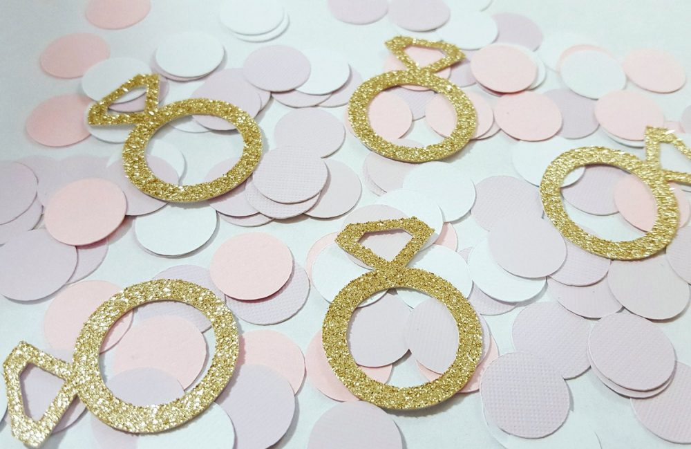 Gold Or Silver Glitter Rings Confetti | Diamond Ring Wedding Decorations Bridal Shower Bachelorette Party Decor