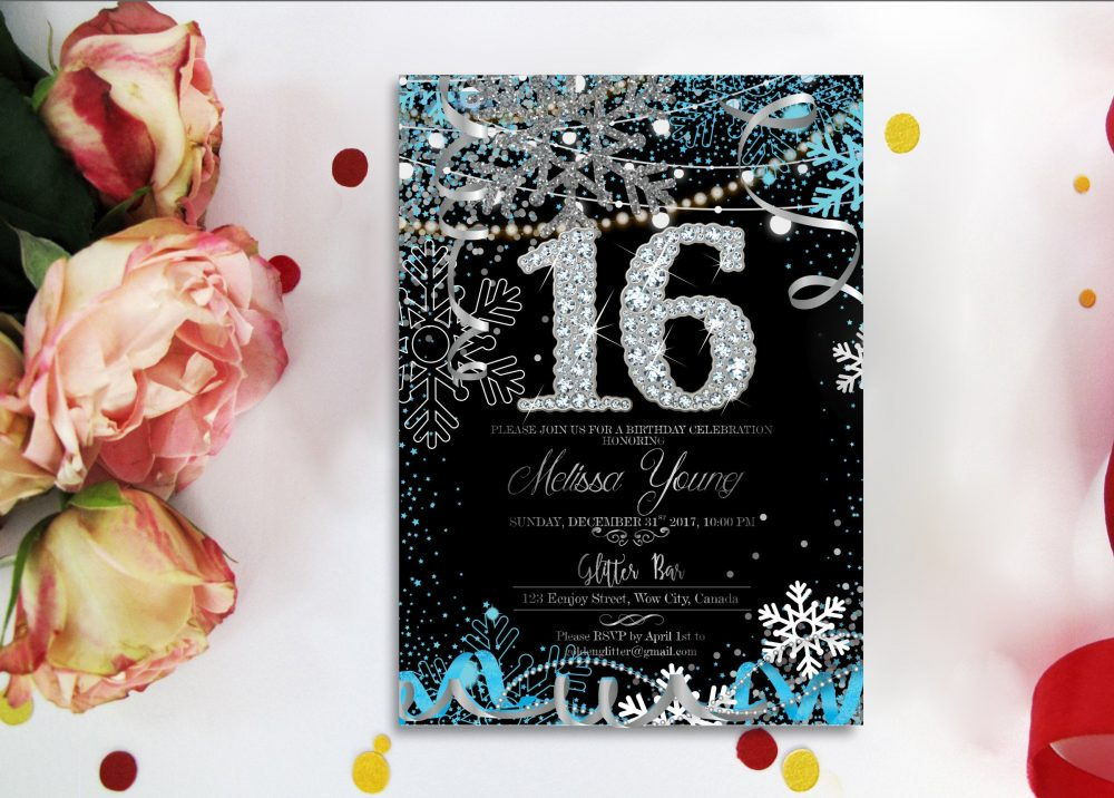 Snowflake Winter Sweet 16 Invitations Black & Gold Diamond. Printable, & Glitter Confetti Diamond Digital
