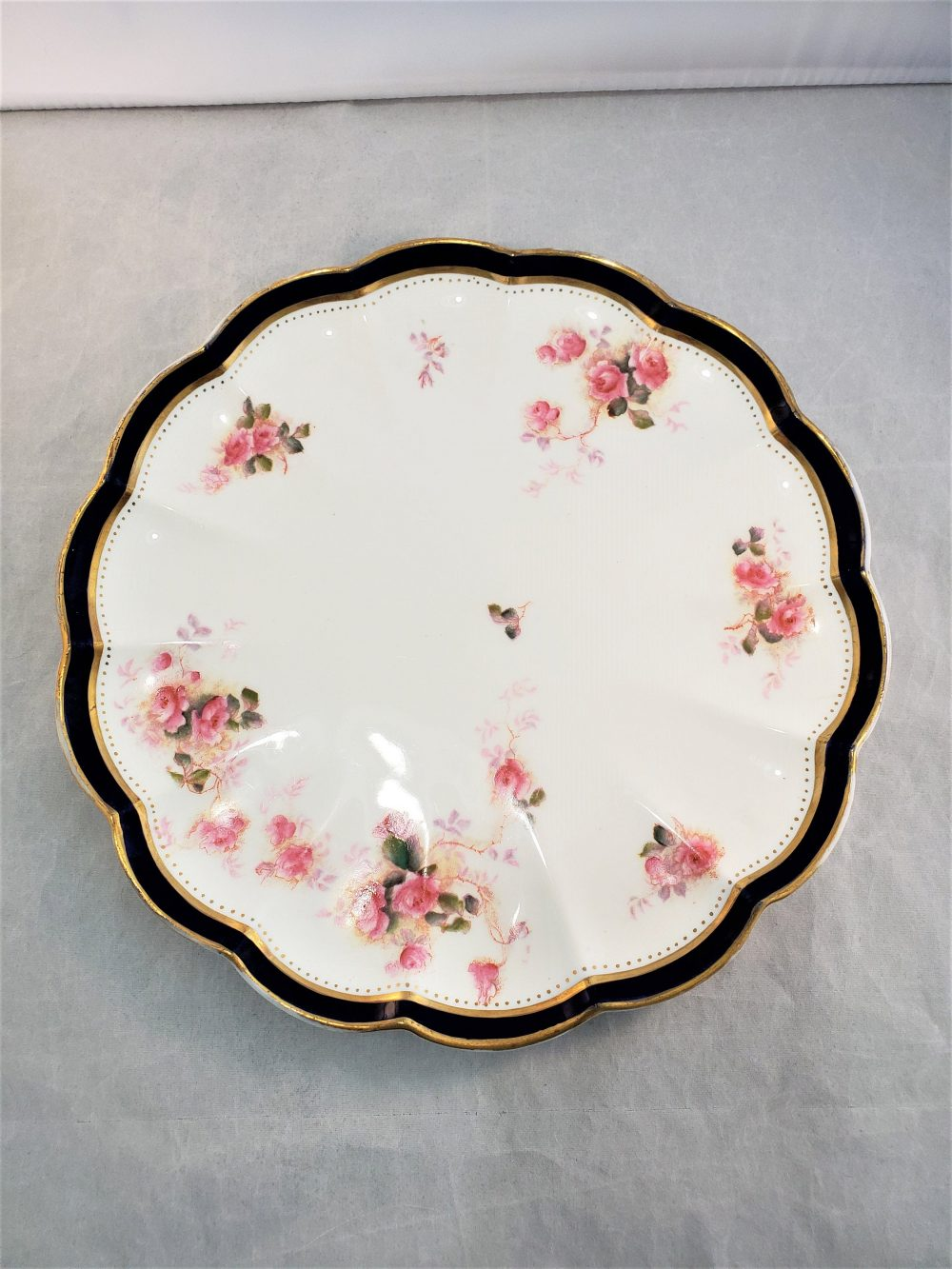 1891-1920 George Jones & Son Crescent China Plate Pink Flowers White Serving Blue/Gold Band Free Shipping @everything Vintage