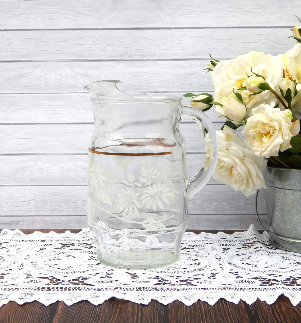 Antique Glass Pitcher White Flowers Gold Band, Tall Heavy Lemonade Ice Tea Water Pitcher, Wedding Gift, Housewarming Gift