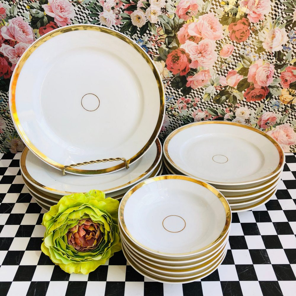 Antique Cfh Limoges French Porcelain White Gold Band China, Very Good Condition, Wedding China, Dining & Serving, Place Settings, Haviland