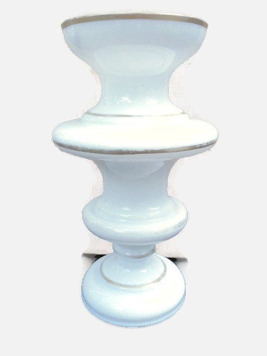 Victorian Bristol Glass Wedding Vase Milk White With Gold Bands Spindle Shaped Very Good Condition