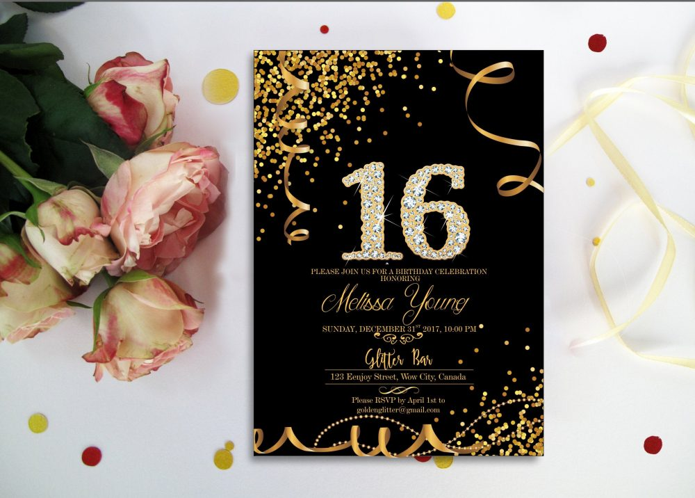 Sweet 16 Invitations Black & Gold Diamond. Printable, & Glitter Confetti Diamond Number Printable Digital