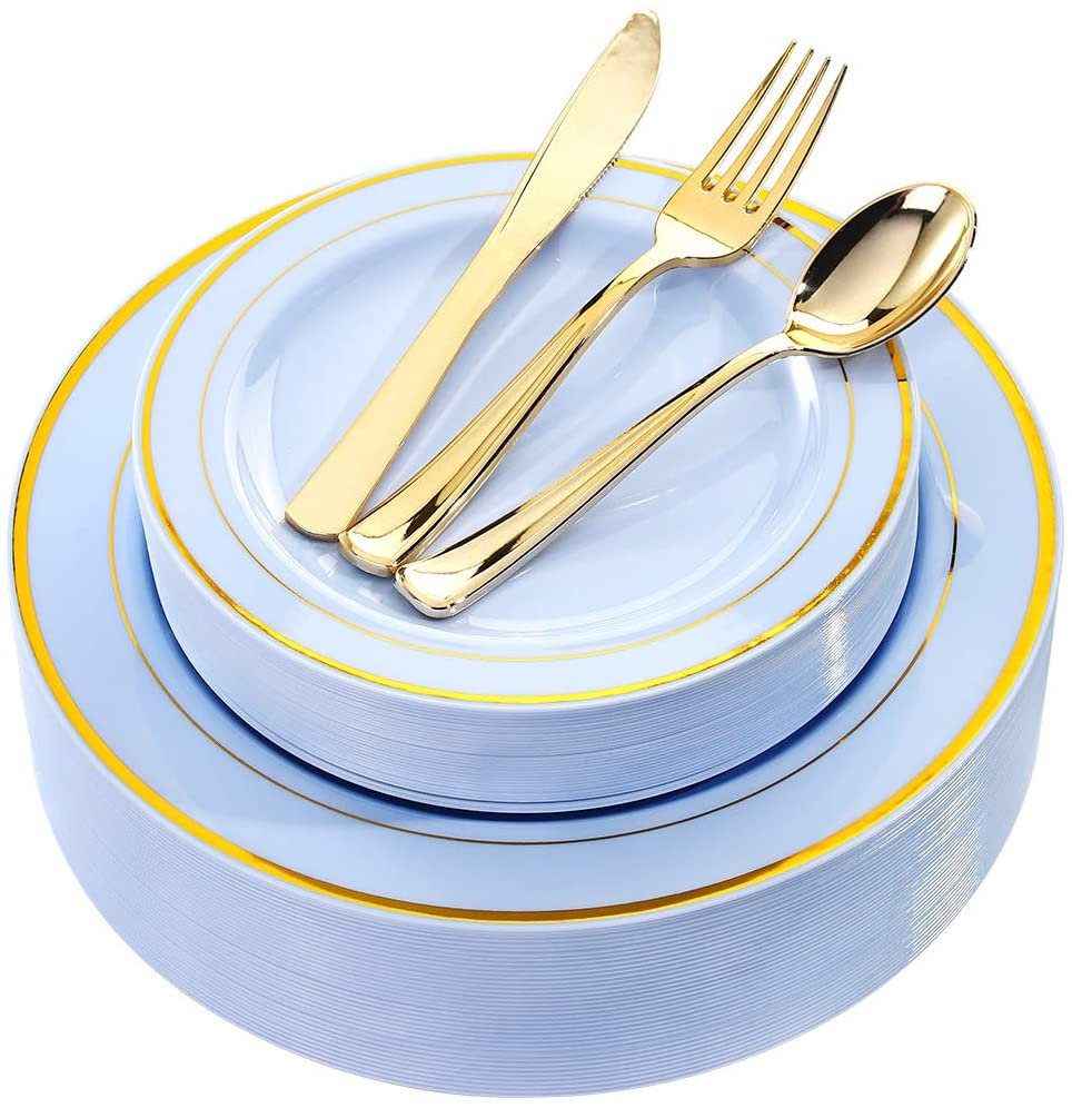 150 Pcs Blue Plastic Plates With Gold Rim Disposable Silverware-Blue Dinneware For Wedding Parties - 30 Dinner