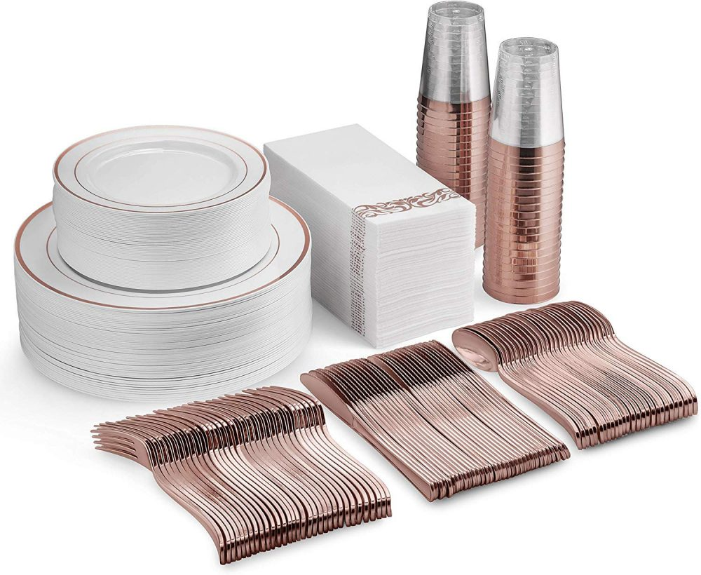 350 Piece Rose Gold Dinnerware Set - 50 Guest Plastic Plates Silverware Cups Linen Like