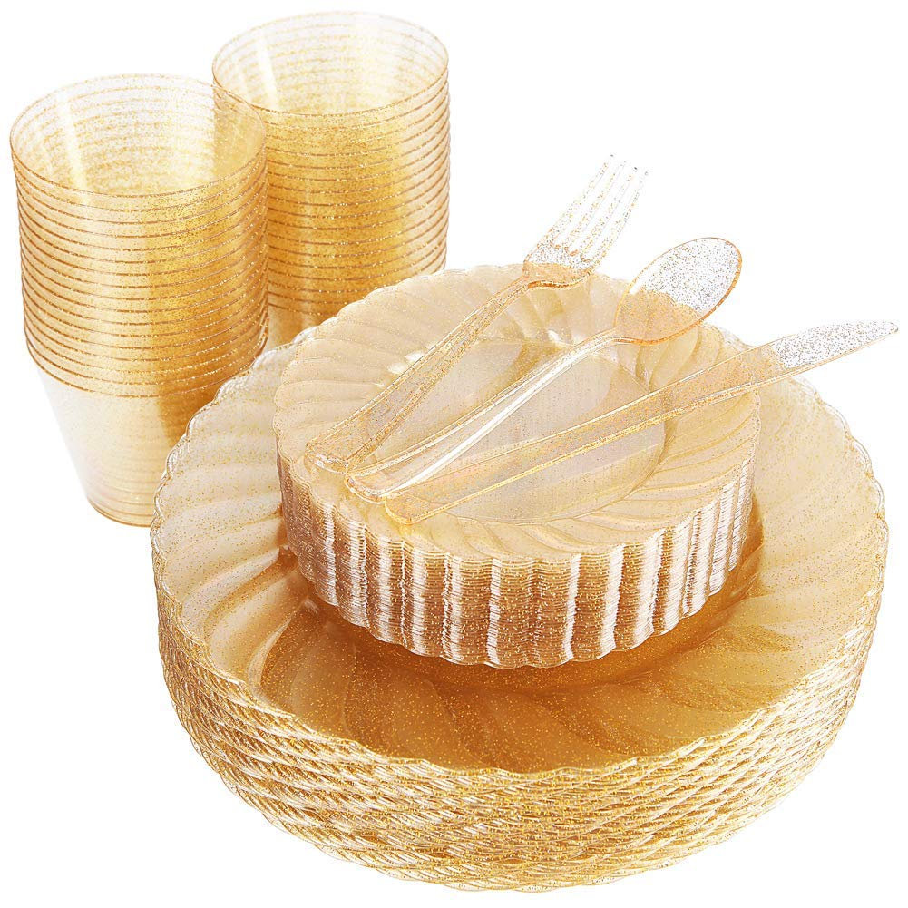 150Pcs Gold Plastic Plates Disposable Silverware 25 Dinner Salad 25Fork Knives Spoons 9Oz P Cups Glitter