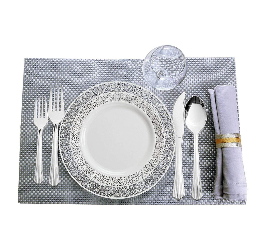 80 Disposable Plastic Plates | Premium Quality White China Like Dinnerware 160 Upscale Collection Silverware Weddings 240 Count