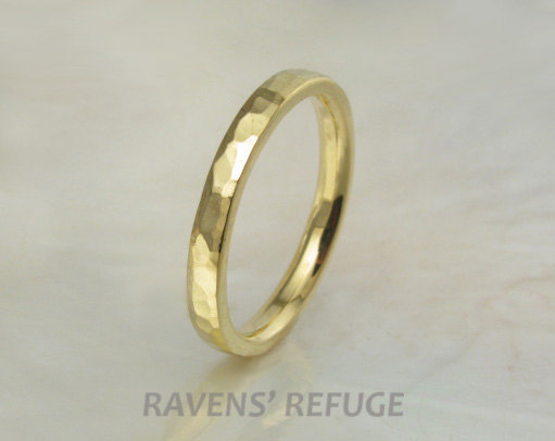 2mm 21K Gold Hand Forged Hammered Wedding Band/stacking Ring With Beveled Edges, Comfort Fit