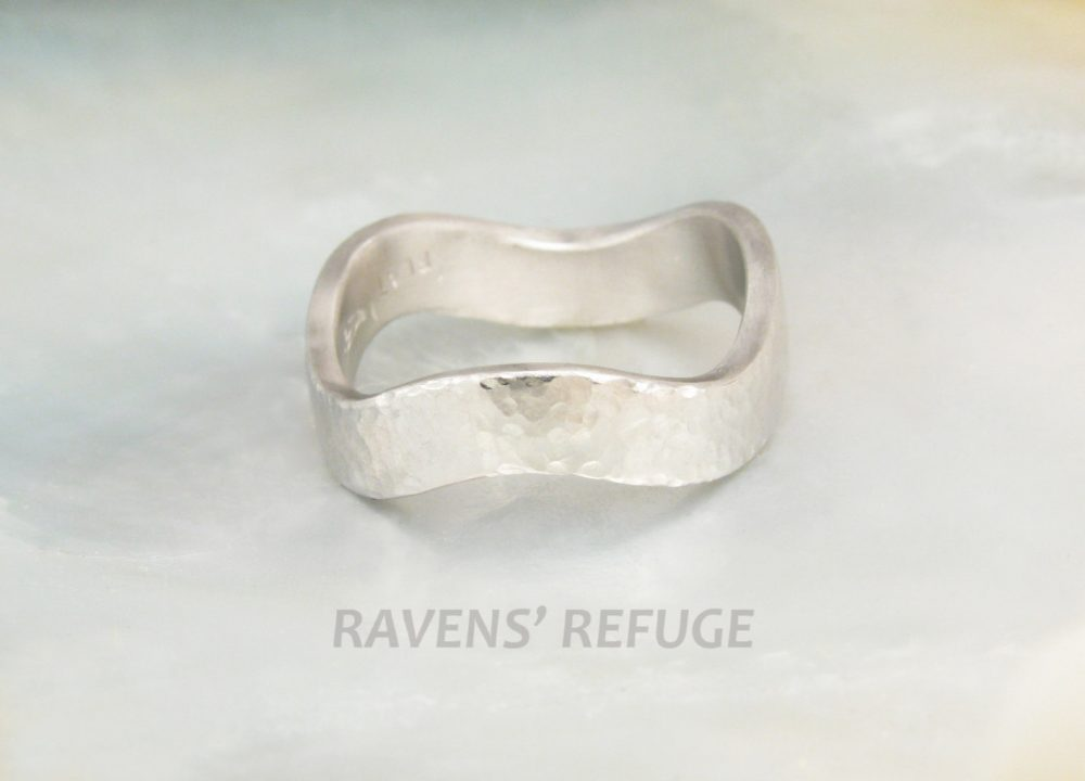 Wavy Platinum Wedding Ring/Hammered Band, Entirely Hand Forged