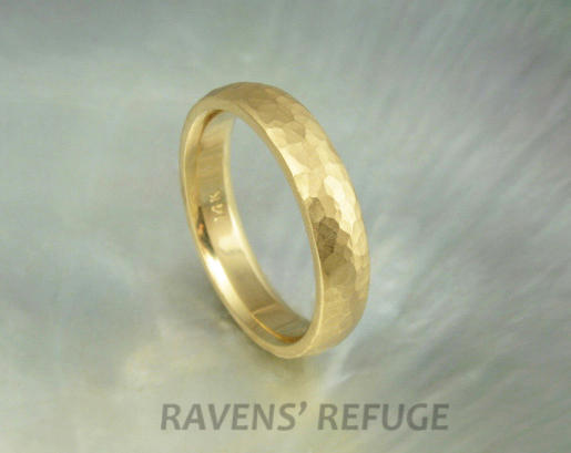 Yellow Gold Wedding Band 4mm Half Round Dome Ring Hammered With Satin Finish Comfort Fit