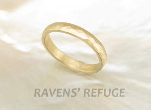 Unique Handcrafted Wedding Ring 3mm Hammered Band in 14K Gold