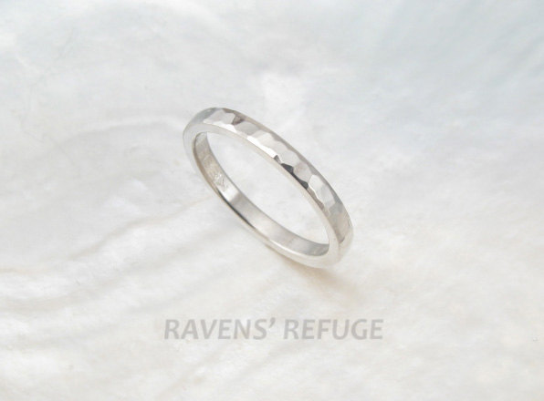 2mm Platinum Wedding Band/stacking Ring With Waterfall Hammering