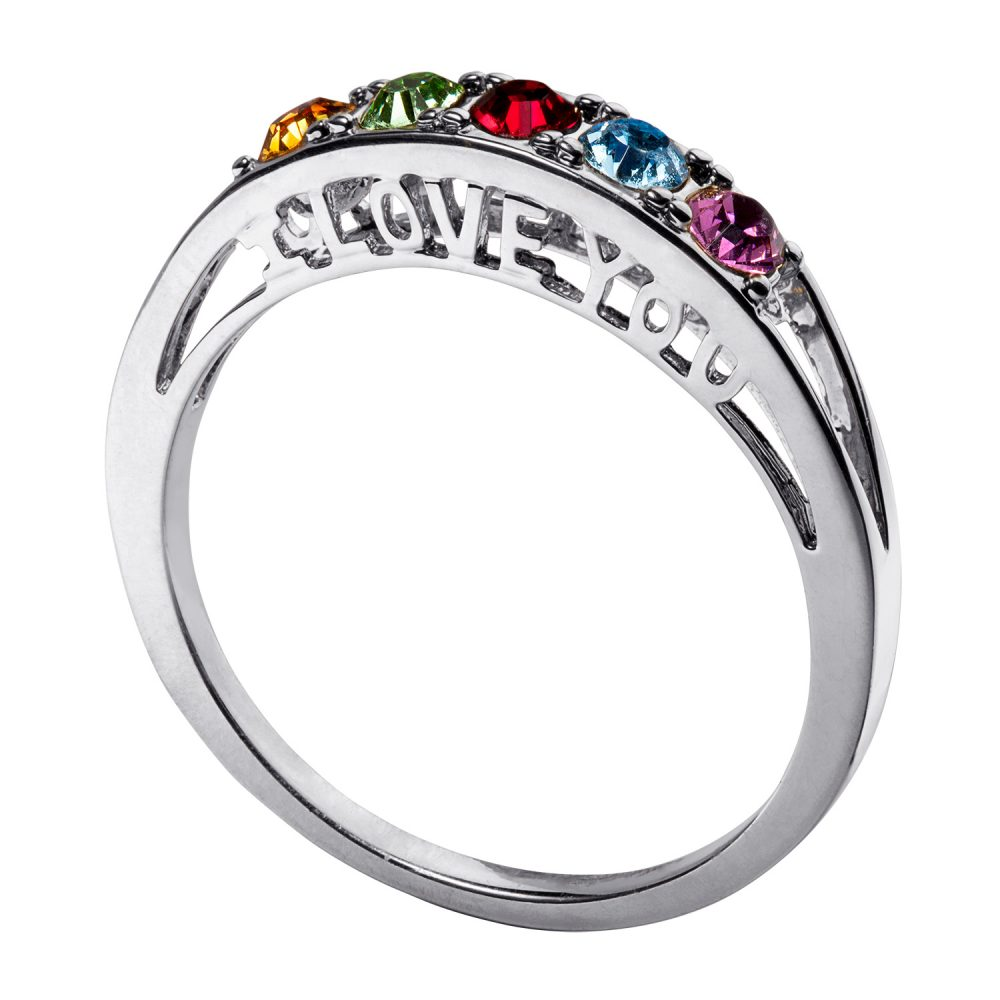 Sterling Silver I Love You Family Birthstone Ring