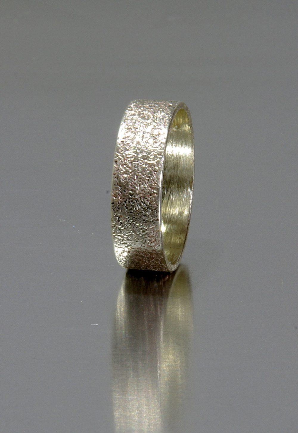 Men's Rustic Wedding Band, 6mm Sterling Silver Ring, Personalized Masculine