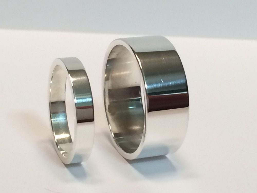 Silver His & Hers 3mm & 8mm Flat Wedding Band Set, 925 Sterling Mens Ladies Matching Rings, Minimalist Bands