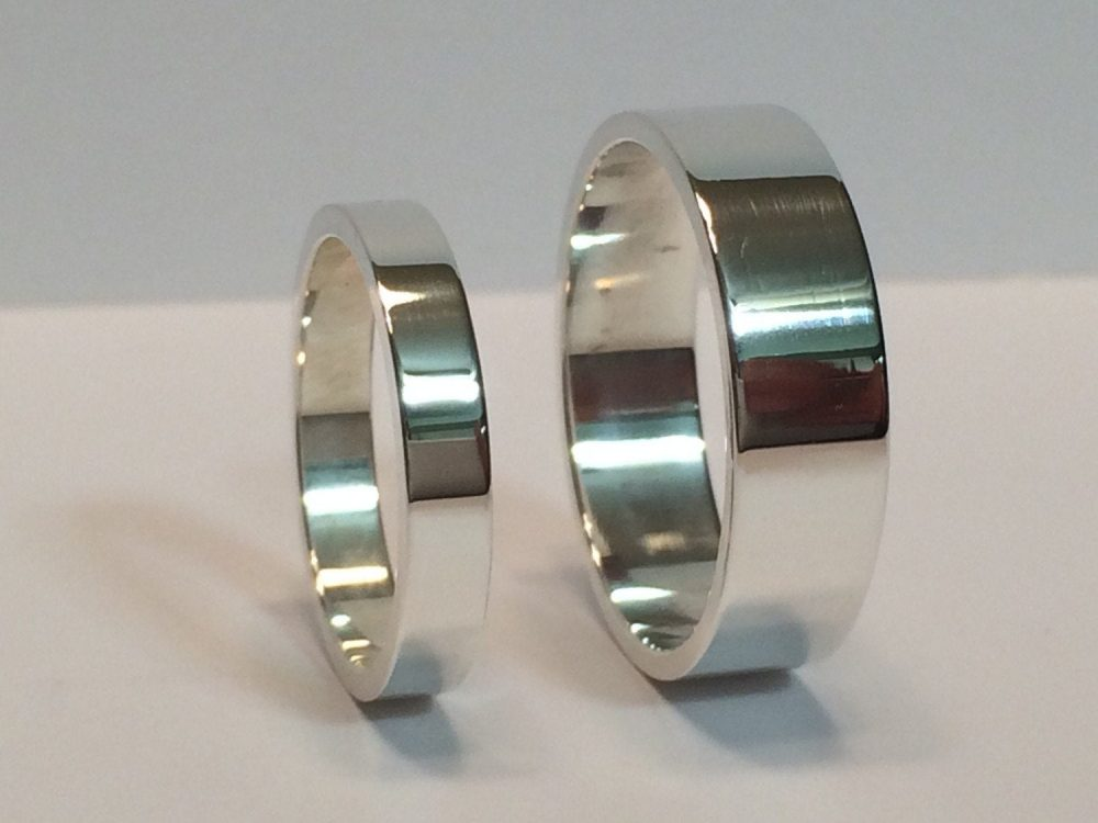 Silver His & Hers 3mm & 6mm Flat Wedding Band Set, 925 Sterling Mens Ladies Matching Rings, Minimalist Bands