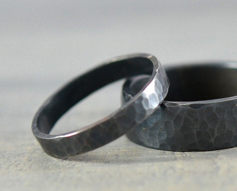 His & Hers Wedding Rings - Black Hammered Sterling Silver Ring Bands 7mm Men's Band 3mm Women's