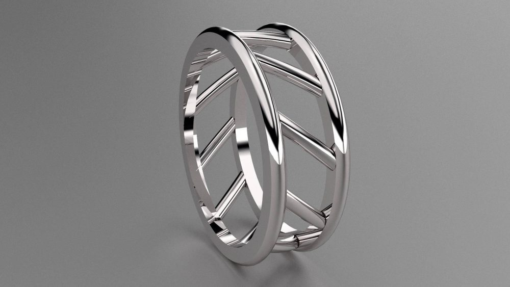Silver 8 Mm Mens Wedding Band With Open Bar Design, 925 Sterling Ring Openess, Wide Unique Look, 8Mm