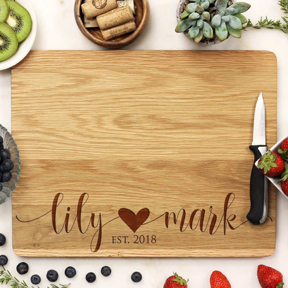Customized Wedding Cutting Board, Personalized Engraved Engagement Gift, Custom Gift21250-Cutb-004