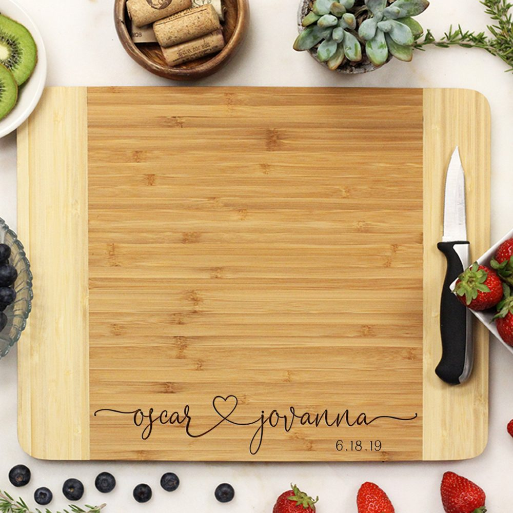 Customized Bamboo Wedding Cutting Board, Personalized Engraved Engagement, Custom Gift21254-Cutb-001