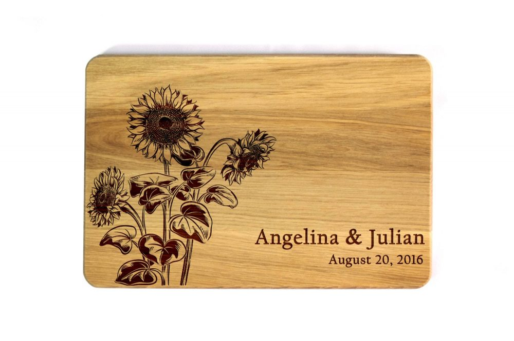 Wedding Cutting Board Sunflowers Gift For Couple Custom Cutting Personalized Present Bridal Shower