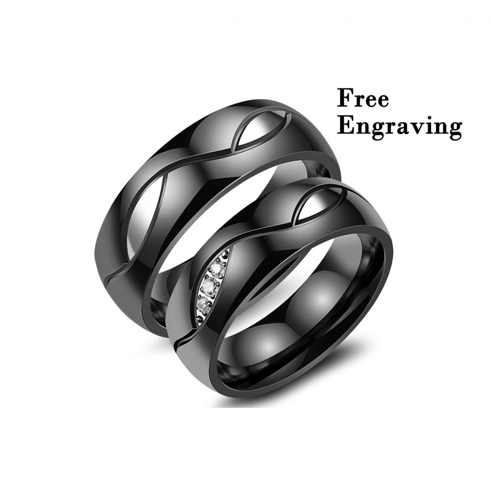 Black Wedding Ring Sets His & Hers , Wedding Band Her