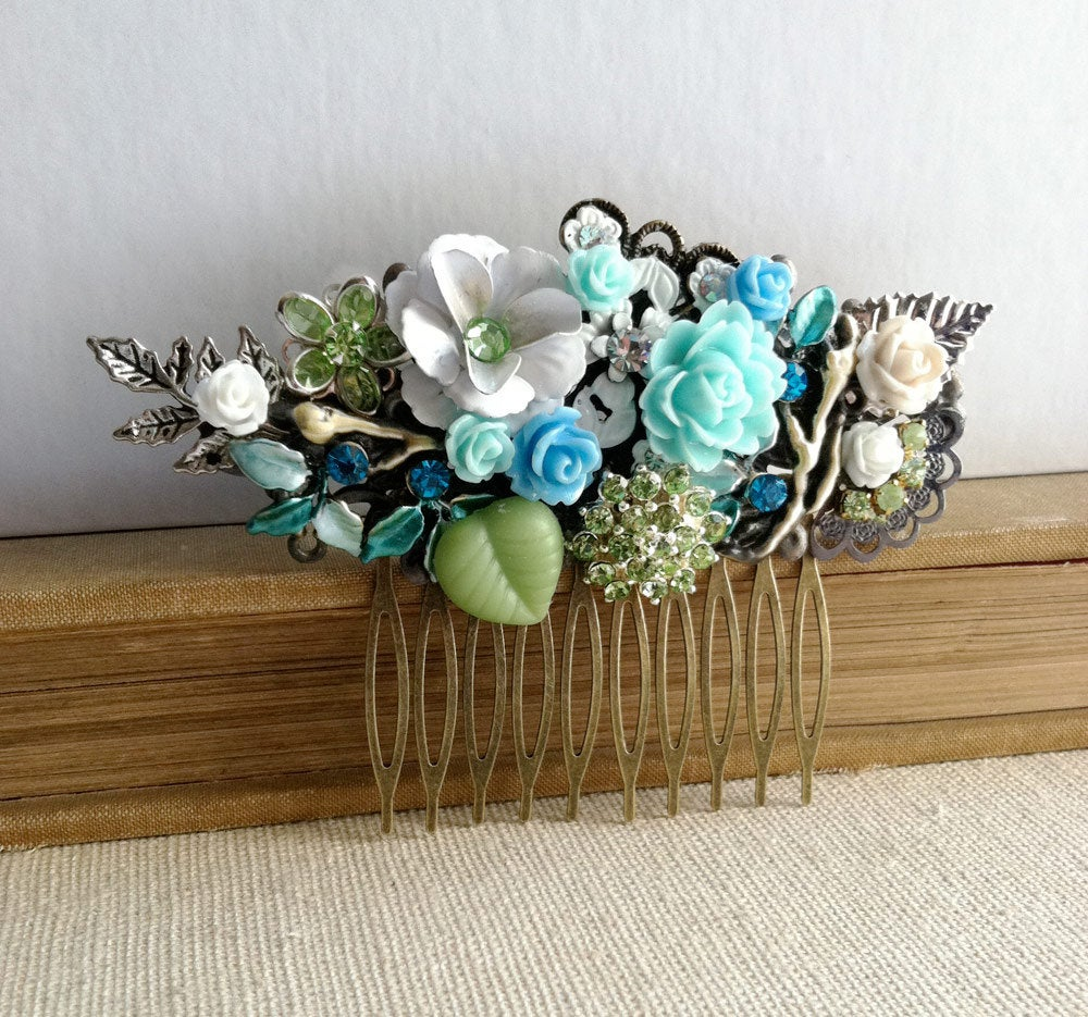 Summer Wedding, Sale, Floral Comb, Blue Hair Accessories, , Something Blue, Mint Flower Comb Wedding Bridal Turquoise Green Mint Aqua