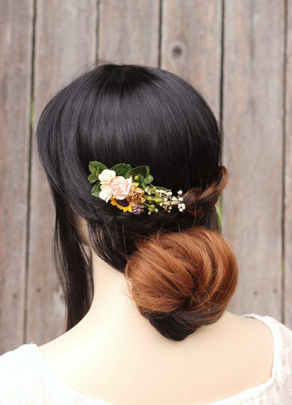 Sunflower Hair Comb Rustic Bridal Comb, Ivory Vine Wedding, Flower Floral Leaf Piece, Greenery Baby Breath Back Piece