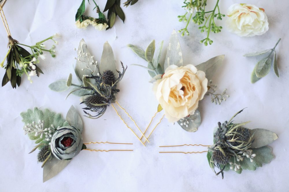 Eucalyptus Blue Thistle Hair Pins Greenery Bridal Comb Bridal Piece Southwestern Wedding Flower Floral Pin