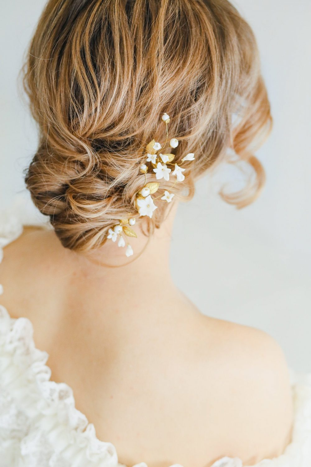 Flower Hairpin, Floral Wedding Flower Hair Comb, Bridal Gold Pearl Bridal Hairpin