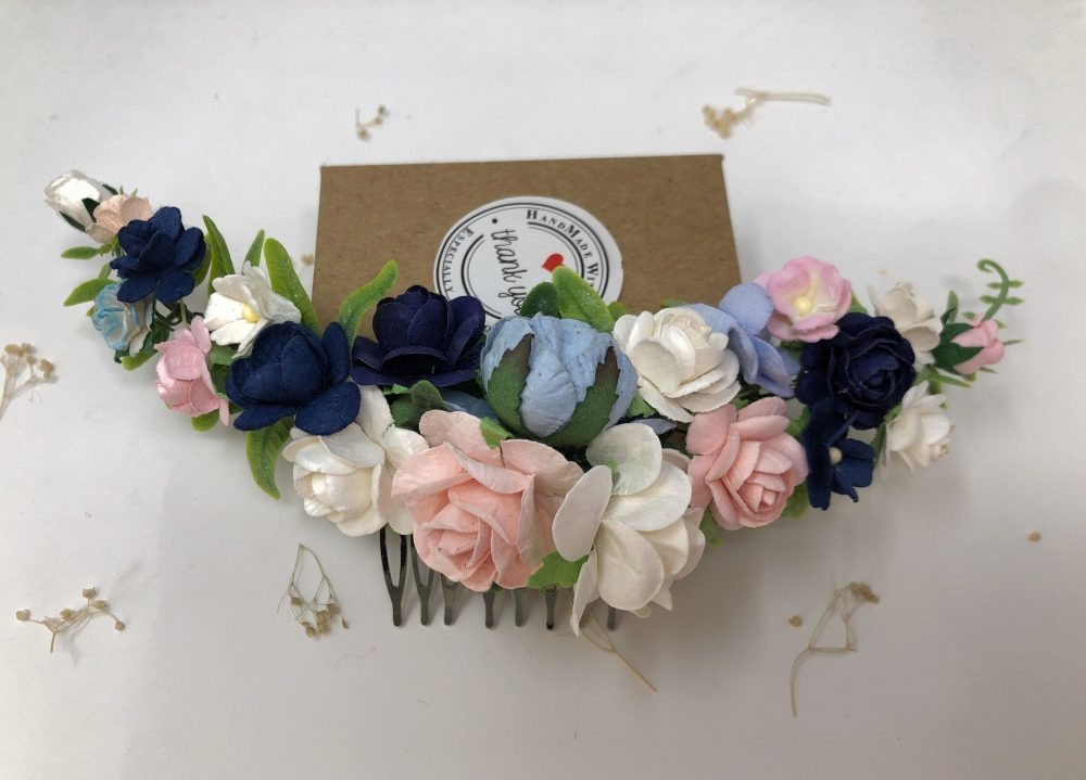 Something Blue Wedding Flower Hair Comb, Floral Piece, Bridal Rose Head Wear