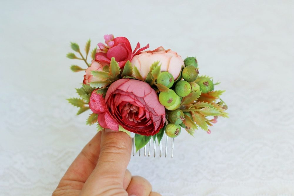 Wedding Red Floral Comb Hair Mini Burgundy Flower Greenery Bridesmaid
