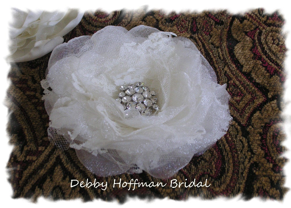 Bridal Hair Flower, Wedding Jeweled Floral Comb, Flower Clip, Headpiece, No. 104F4
