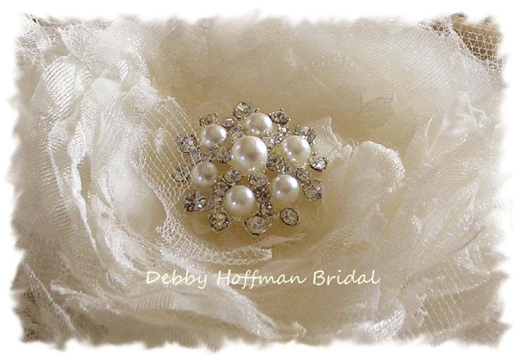 Wedding Hair Flower, Floral Comb, Flower Clip, Bridal Headpiece, With Pearls & Crystals, No. 106F4