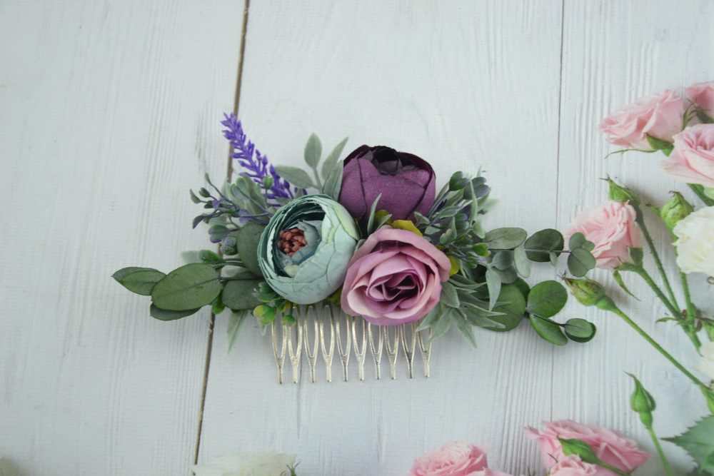 Dusty Blue Flower Comb Purple Floral Comb/ Blue Hair Piece/ Wedding Flower Floral