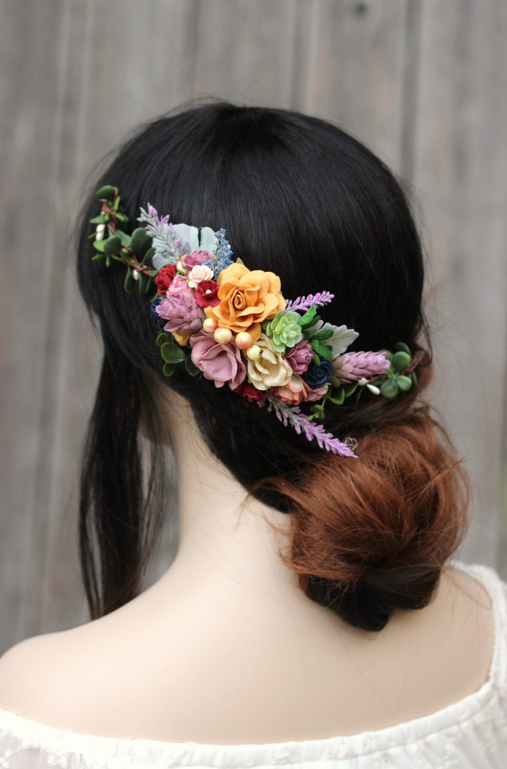 Flower Hair Comb Wedding, Purple Floral Comb, Mauve Rustic Clip, Wedding Flower Piece Fall