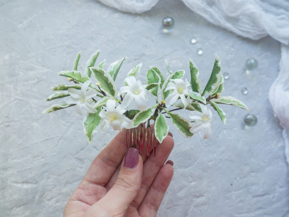 Wedding Flower Hair Comb - Bridal Greenery Floral Headpiece