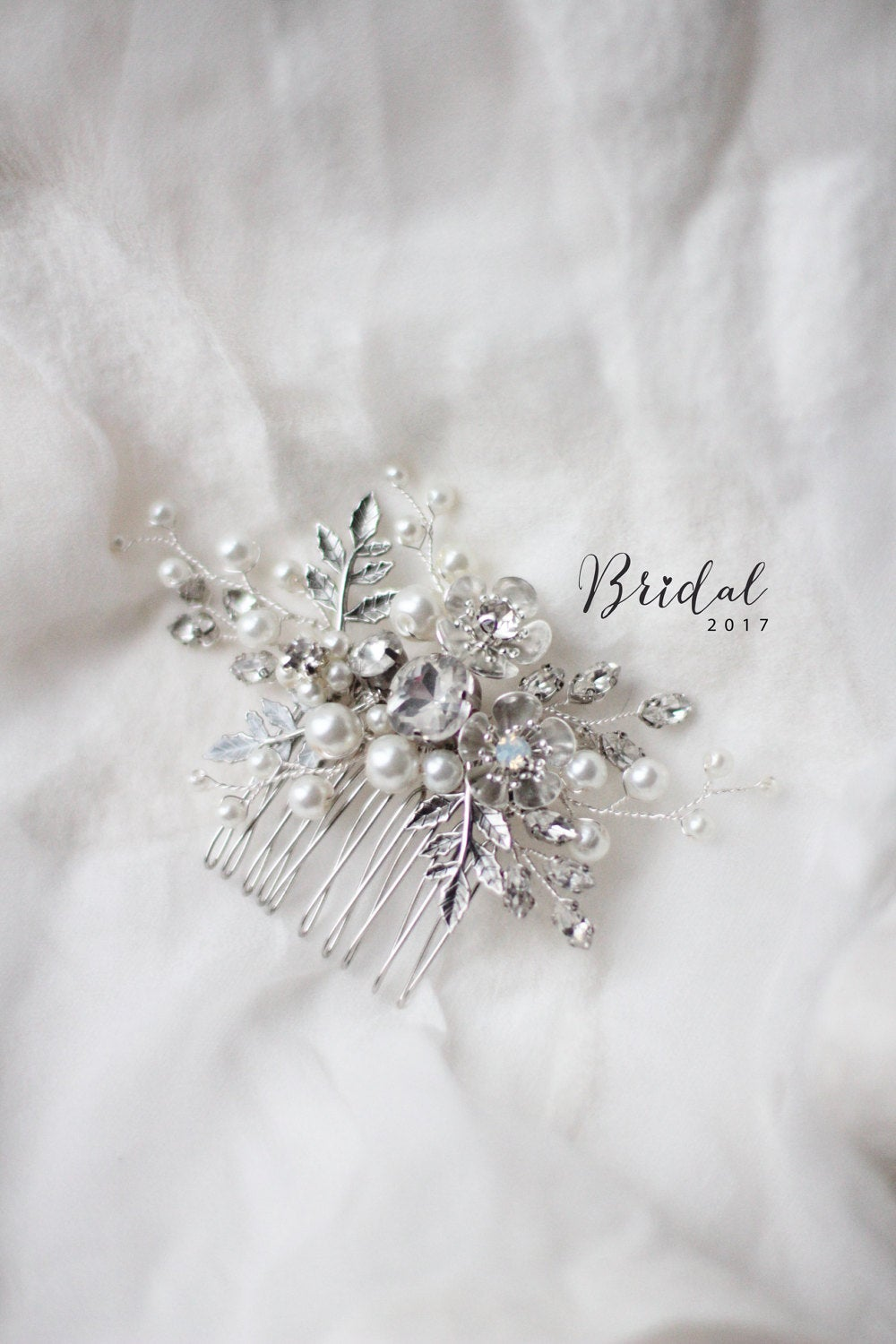 Bridal Hair Clip Opals Something Blue Light Stone Comb Wedding Flower Floral Twig Bridesmaid Hc-162