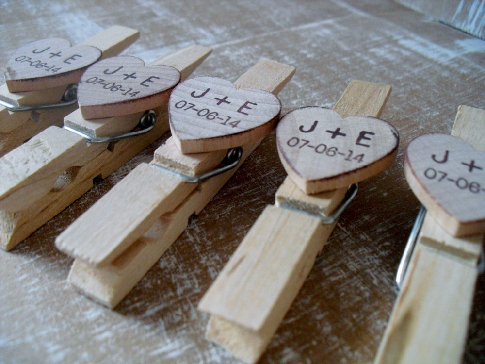 Wooden Wedding Clothespins Personalized - Set Of 25 Item 1577