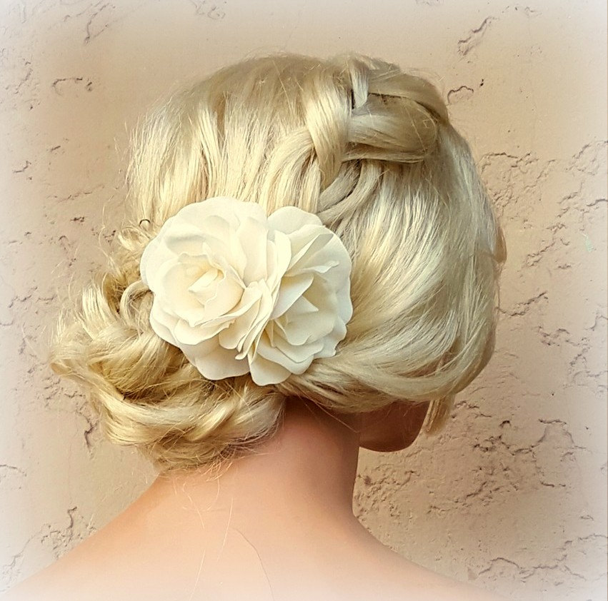 Flower Hair Clip, White Fascinator, Gardenias, Wedding Bridal Floral Gardenia Fascinate