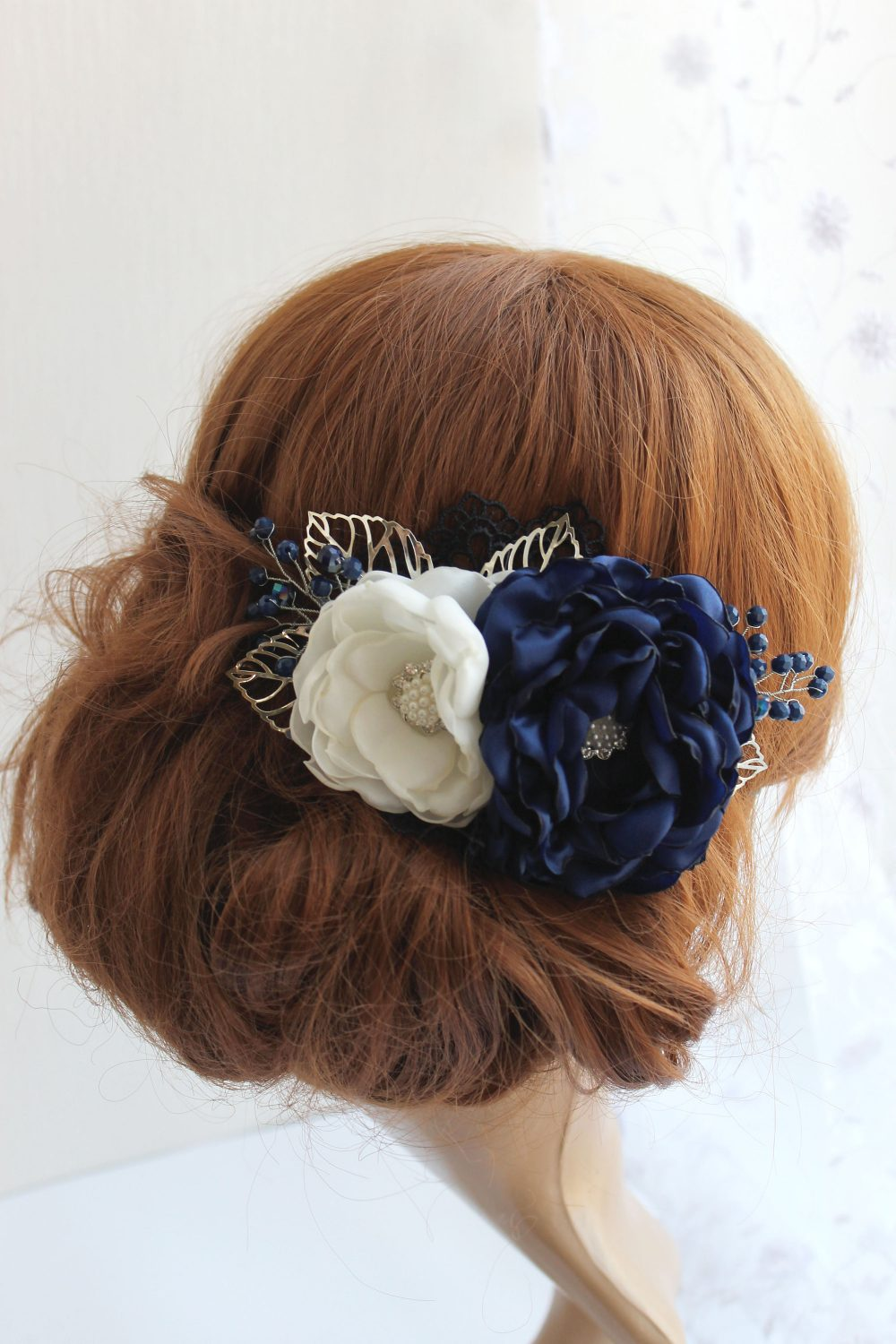 Navy Wedding Hair Piece, Blue & White Bridal Fabric Flower Head Blue Floral Fascinator, Bridesmaid Accessory